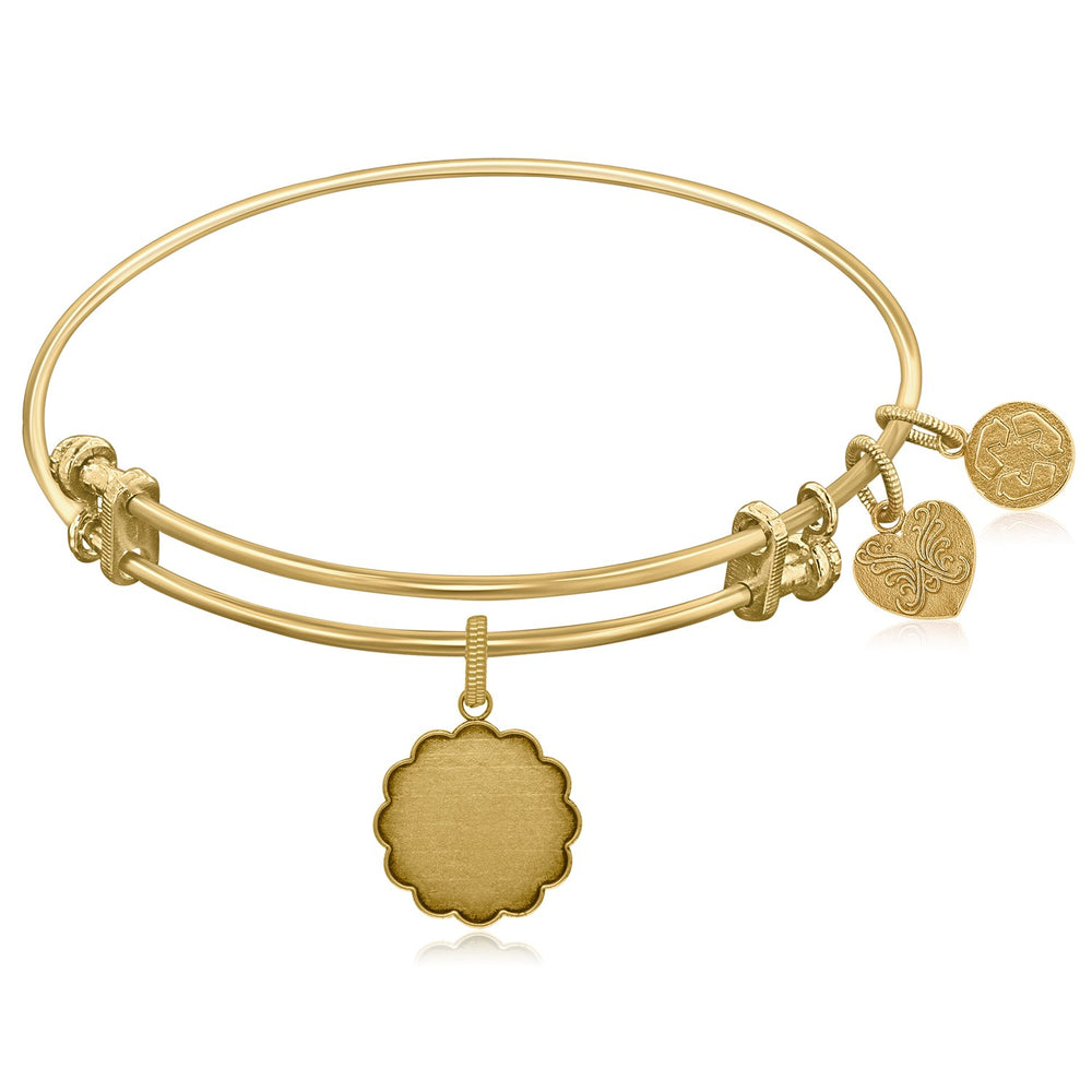 Expandable Yellow Tone Brass Bangle with Plain Engravable Fancy Round Symbol