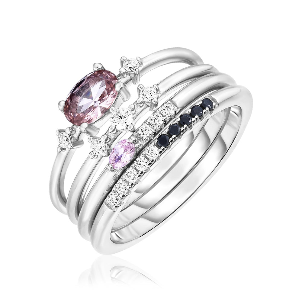 Sterling Silver Four Piece Stackable Ring Set with Pink Hued Cubic Zirconias