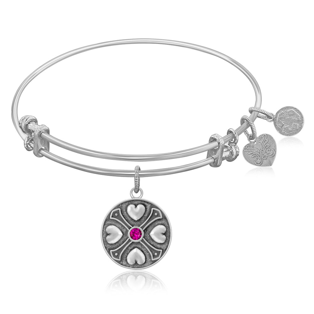 Expandable Bangle in White Tone Brass with Ruby July Symbol