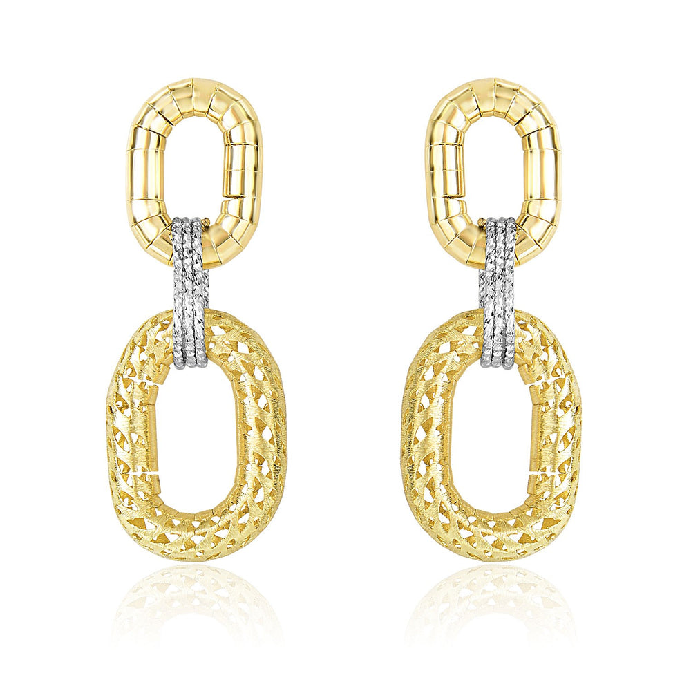 14k Two-Tone Gold Diamond Cut Texture Oval Shape Drop Earrings
