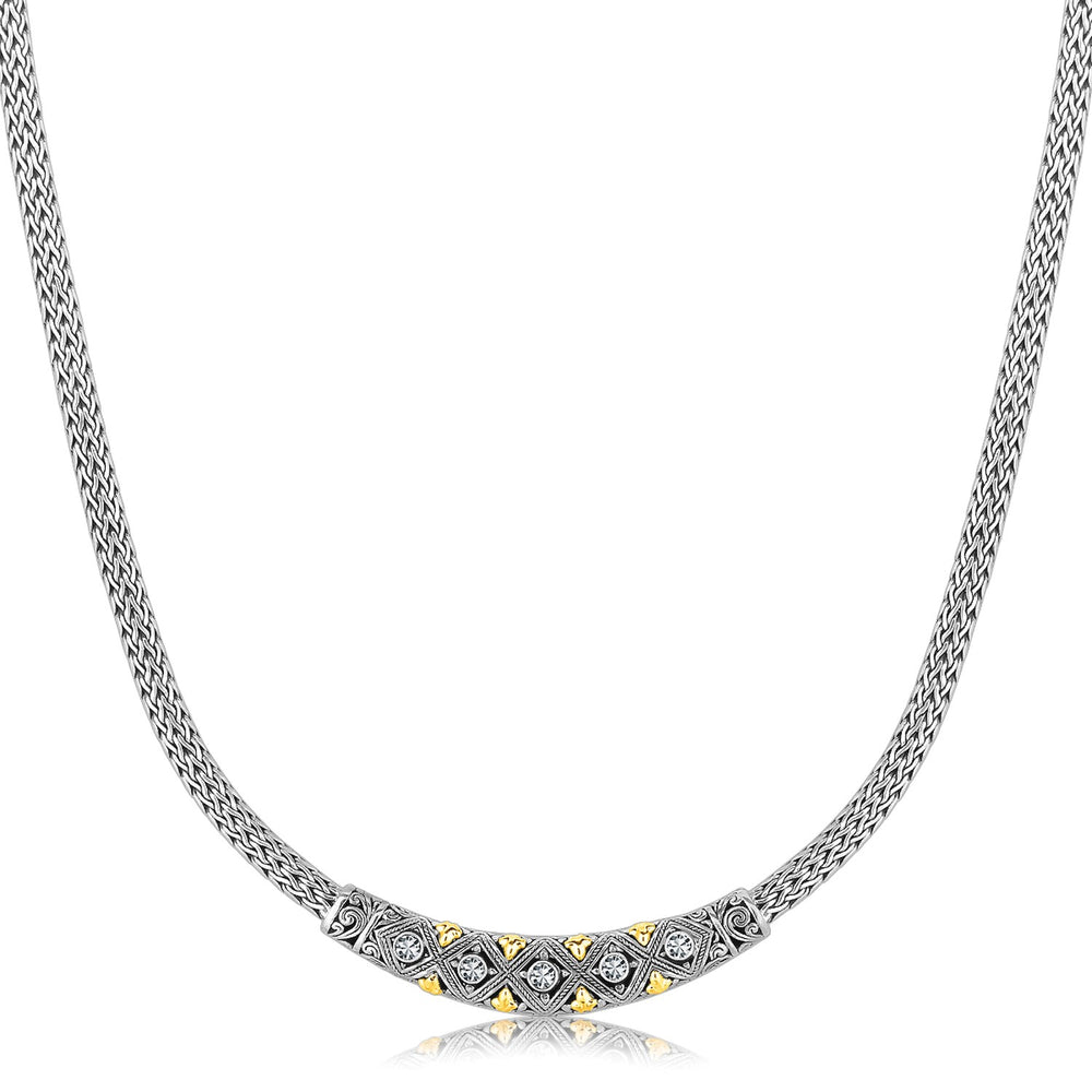 18k Yellow Gold & Rhodium Sterling Silver Baroque Curved Bar Diamond Necklace