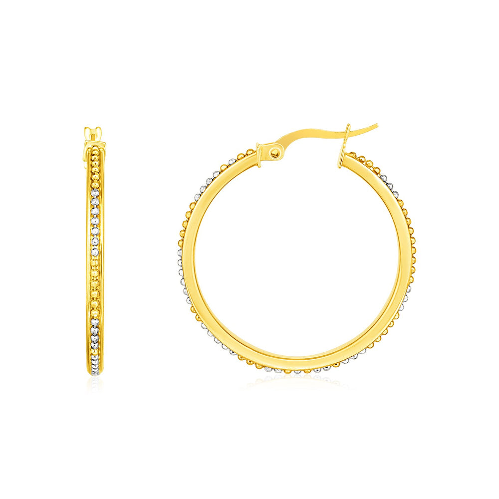 14k Two Tone Gold Round Hoop Earrings with Bead Texture