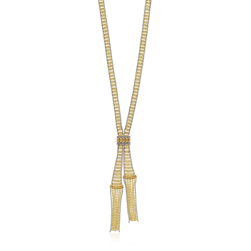 14k Two Tone Gold Ladder Style Beaded Necklace