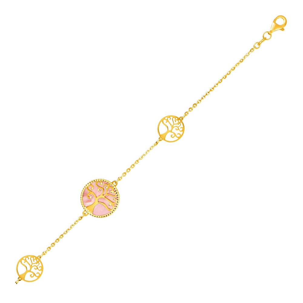 14k Yellow Gold and Mother of Pearl Tree of Life Bracelet