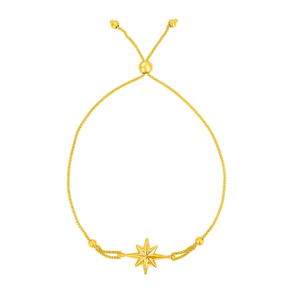14k Yellow Gold Adjustable Bracelet with Polished Star