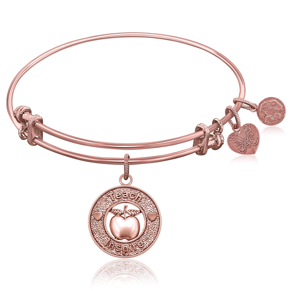 Expandable Bangle in Pink Tone Brass with Teacher Symbol