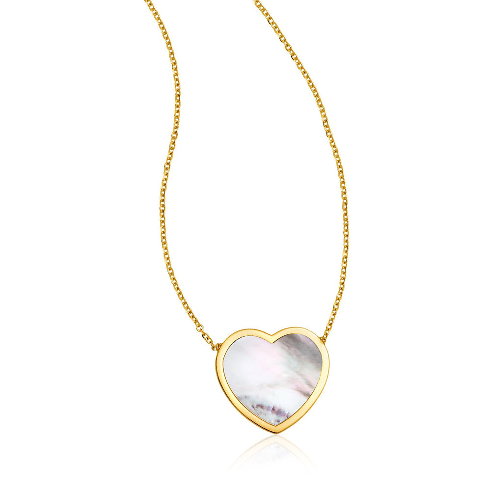 14k Yellow Gold Heart Necklace with Mother of Pearl