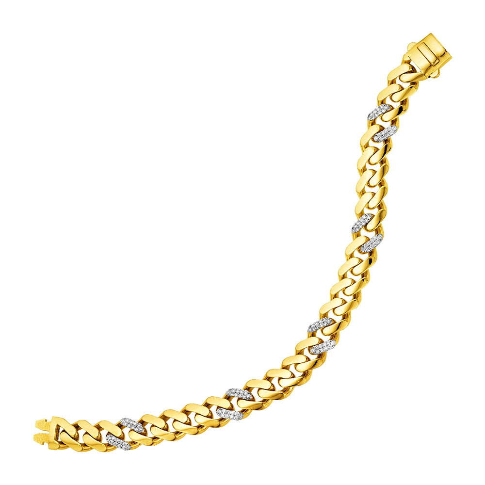 14k Yellow Gold Polished Curb Chain Bracelet with Diamonds