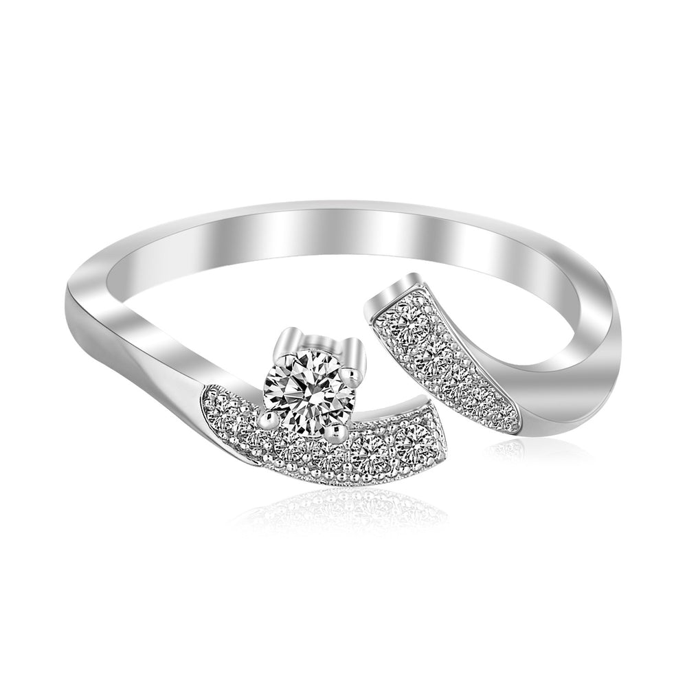 Sterling Silver White Cubic Zirconia Accented Toe Ring with Rhodium Plating