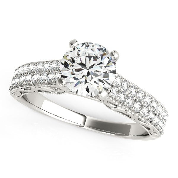 14K White Gold Pronged Round Diamond Antique Style Engagement Ring (1 1/3 ct. tw.)