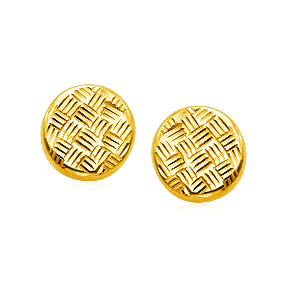 14k Yellow Gold Post Earrings with Textured Circles