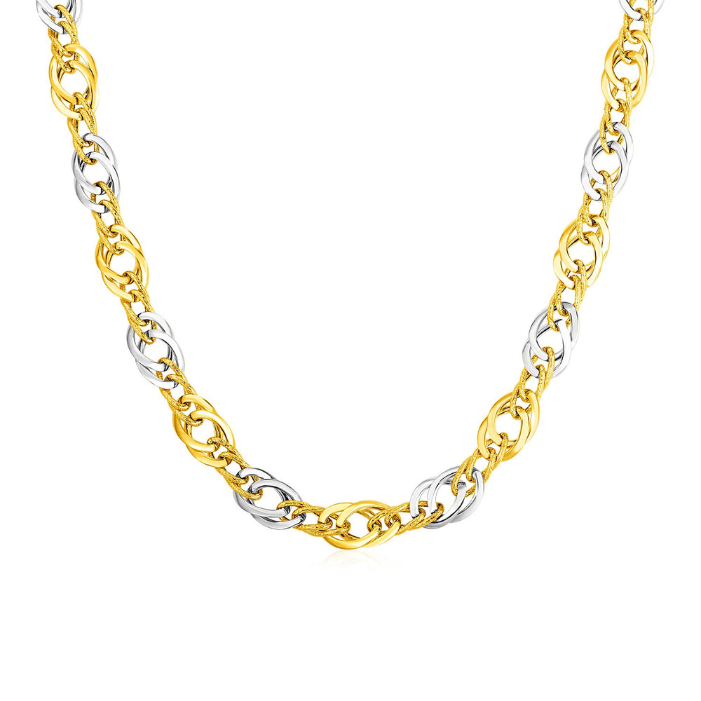 14k Two Tone Gold Double Oval Link Necklace