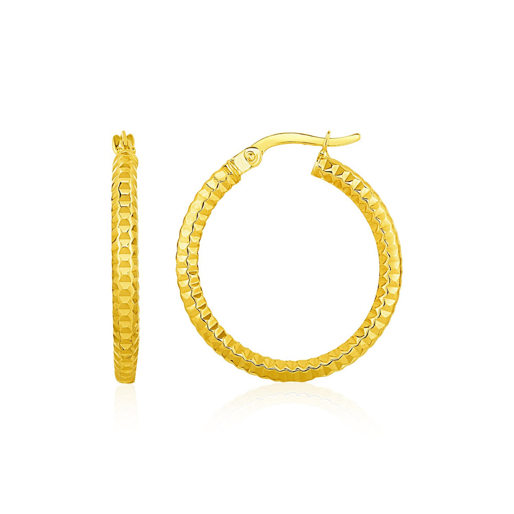 Textured Round Hoop Earrings in 10k Yellow Gold