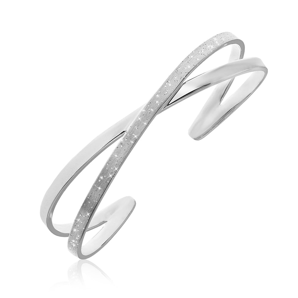 Sterling Silver Fancy X Style Open Cuff with Stardust Finish