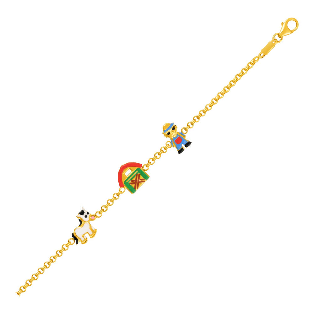 14k Yellow Gold Childrens Bracelet with Enameled Farm Figures