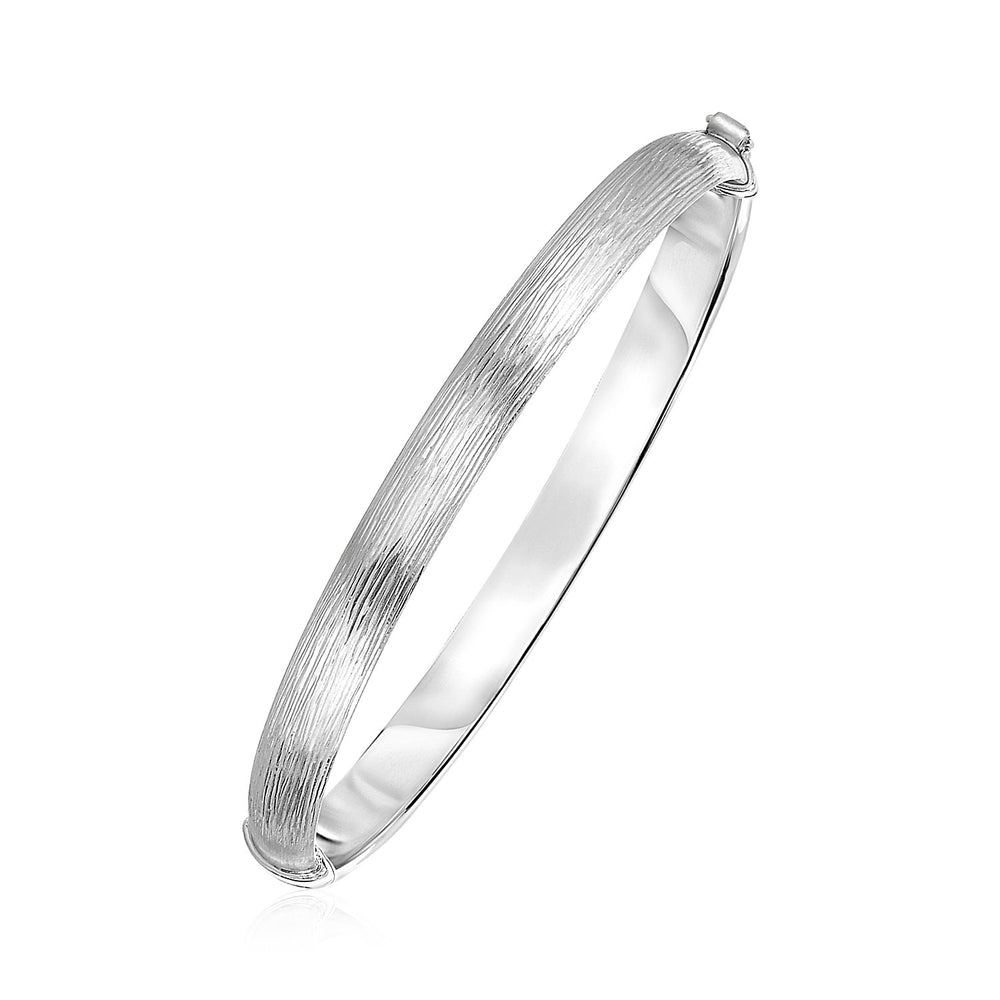Textured Hinged Bangle in Sterling Silver