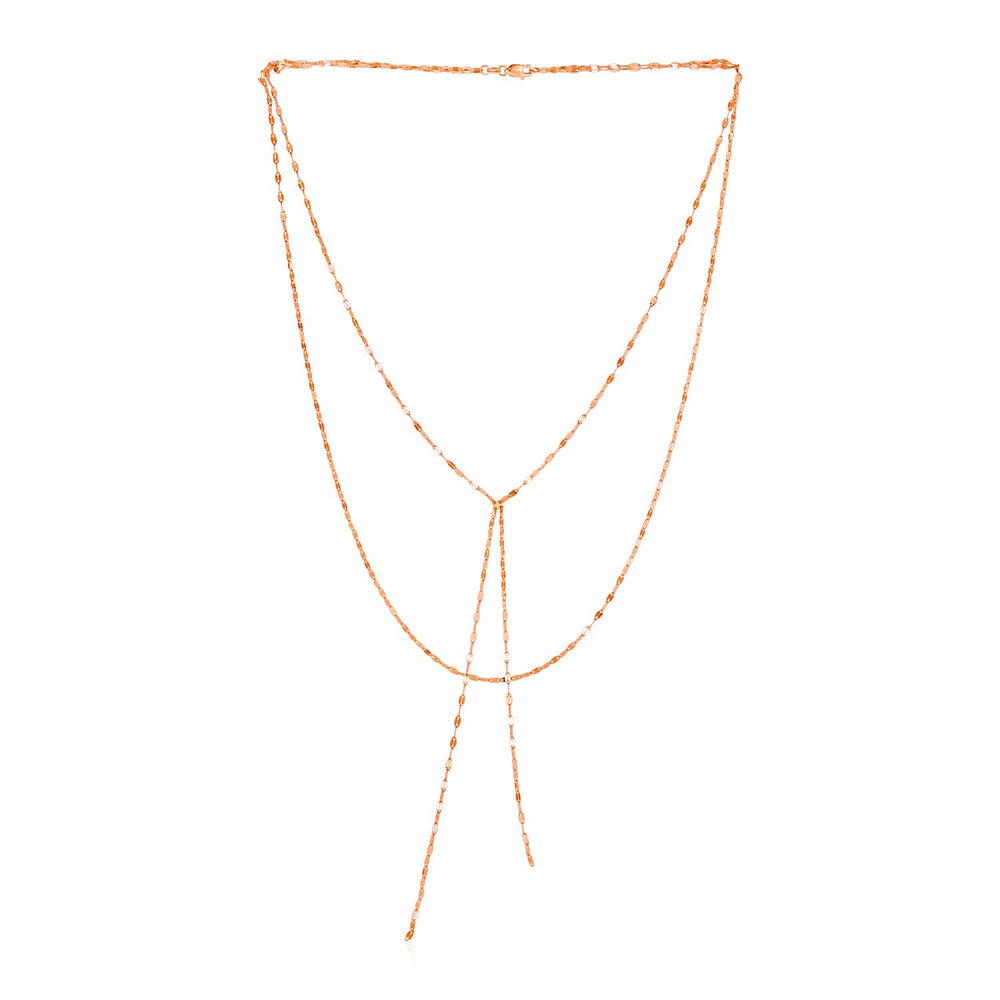 14k Rose Gold Two Strand Mixed Standard and Lariat Style Necklace