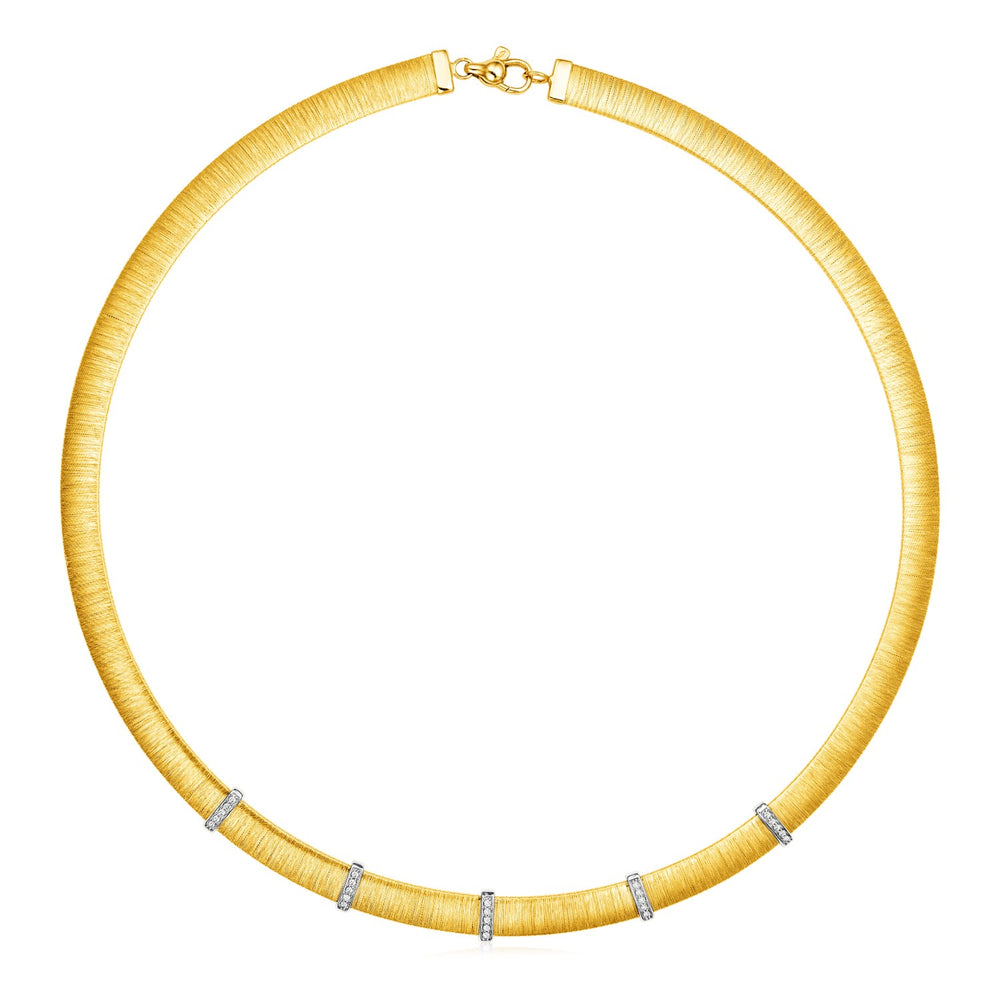 14k Two Tone Gold 17 3/4 inch Silk Textured Necklace with Diamonds