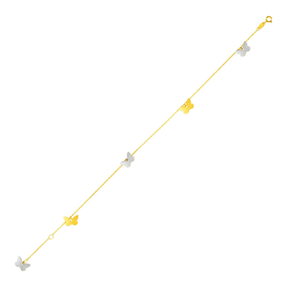 14k Two Tone Gold Anklet with Butterflies