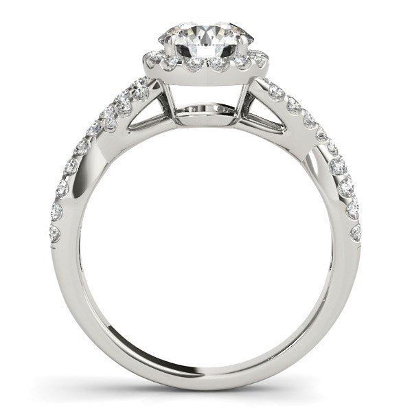 14K White Gold Round Entwined Split Shank Diamond Engagement Ring (1 1/2 ct. tw.)