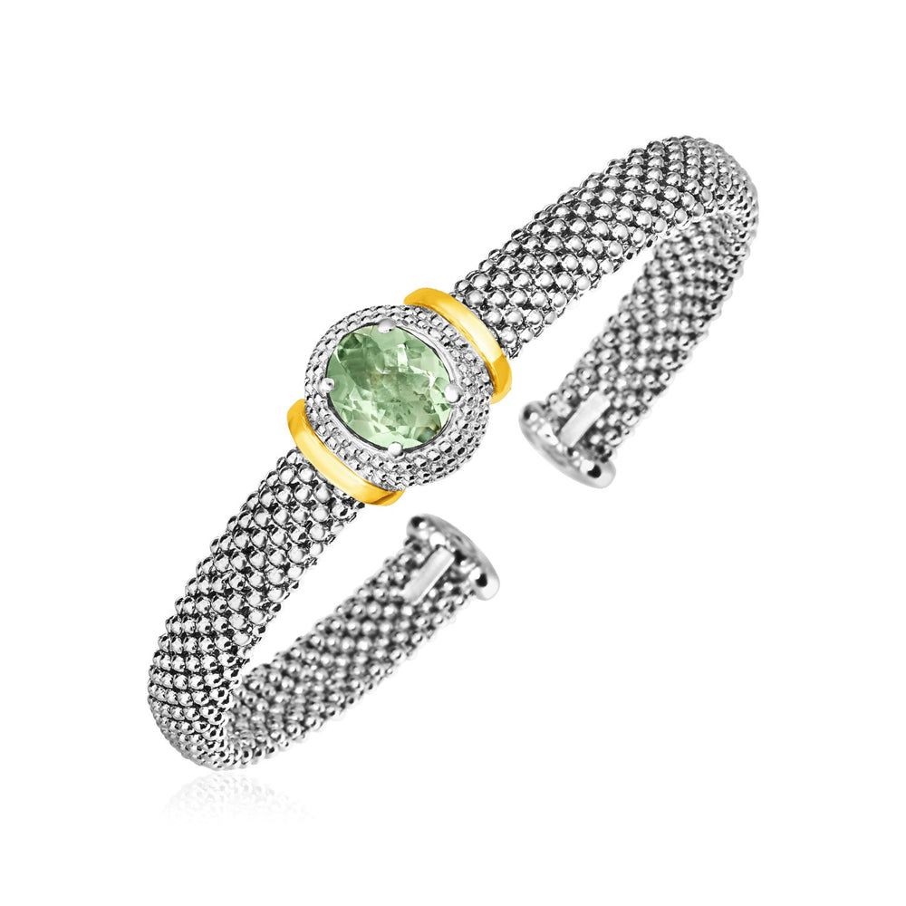 Textured Cuff with Oval Green Amethyst in Sterling Silver and 18k Yellow Gold