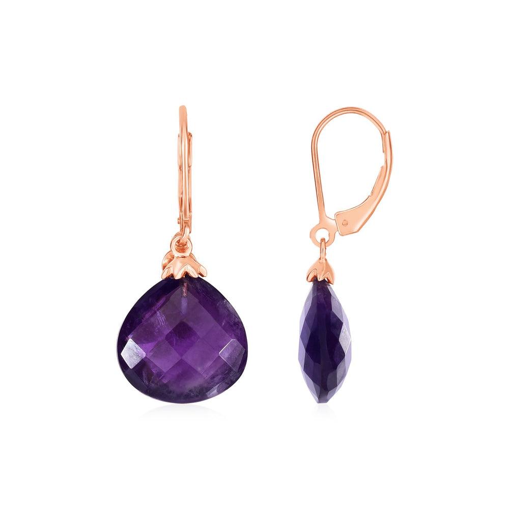Earrings with Amethyst Teardrops with Rose Finish in Sterling Silver