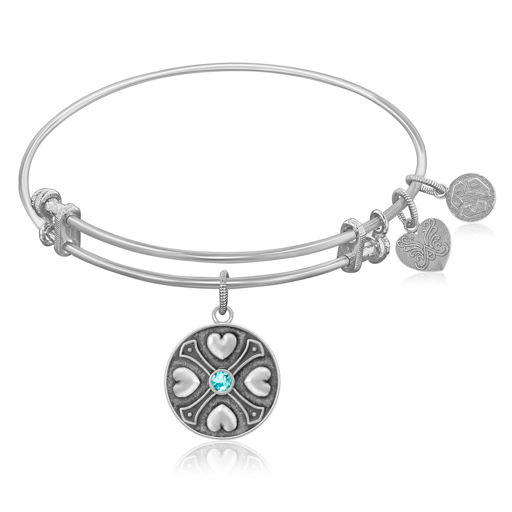 Expandable Bangle in White Tone Brass with Aquamarine March Symbol