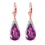 10 CTW 14K Solid Rose Gold Leverback Earrings Natural Amethyst