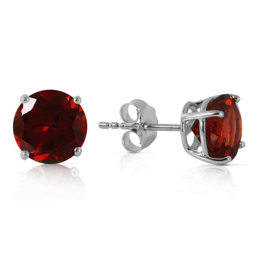 3.1 Carat 14K Solid White Gold Entre Nous Garnet Earrings