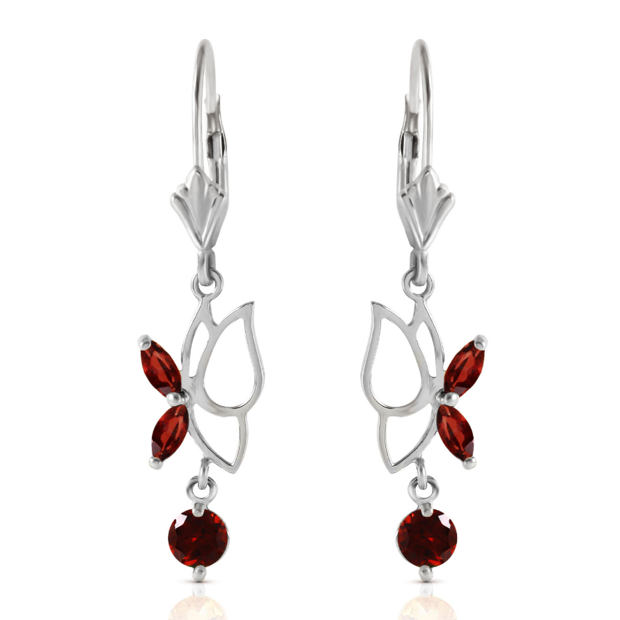 0.8 CTW 14K Solid White Gold Butterfly Earrings Garnet