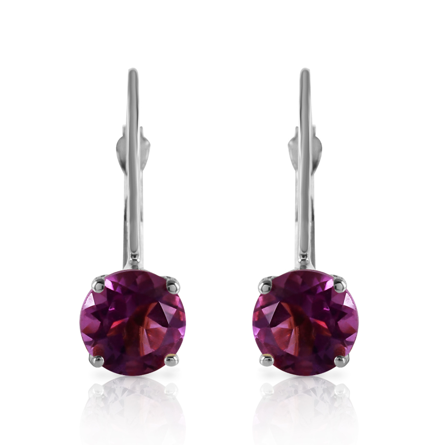 1.2 CTW 14K Solid White Gold Being Yourself Amethyst Earrings
