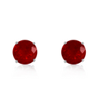 0.95 Carat Petite Women's 14K White Gold Ruby Earrings