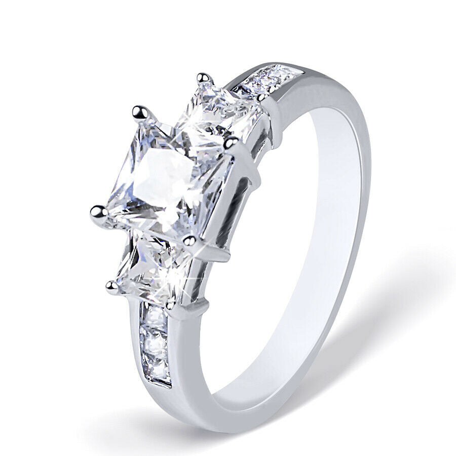 Womens 1.5 Carat CT 3 Stone Bridal Engagement Ring Princess Cut Sterling Silver