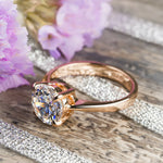 Womens Solitaire Ring Round Cut 1.25 Carat 4 Prong Rose Gold Plated Size 5-9