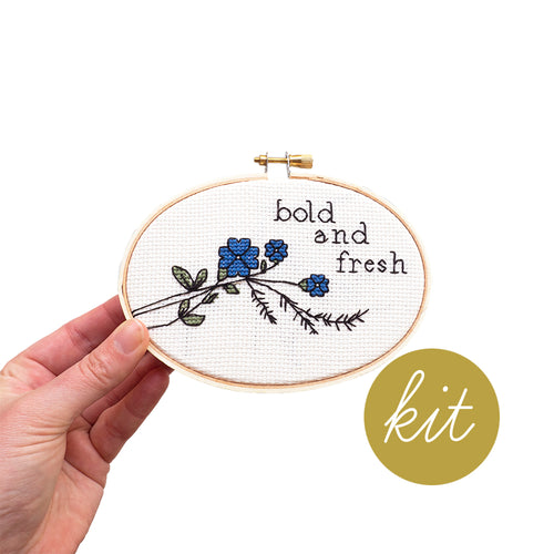 blue flower with green leaves cross stitch kit, texts reads bold and fresh, DIY cross stitch kit