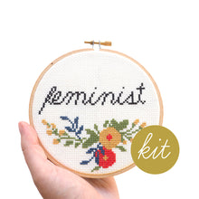 Load image into Gallery viewer, feminist cross stitch kit, cursive feminist with colorful flowers, DIY cross stitch