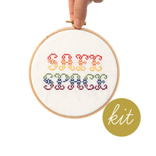 Load image into Gallery viewer, gradient rainbow playful font reading Safe Space, DIY cross stitch kit