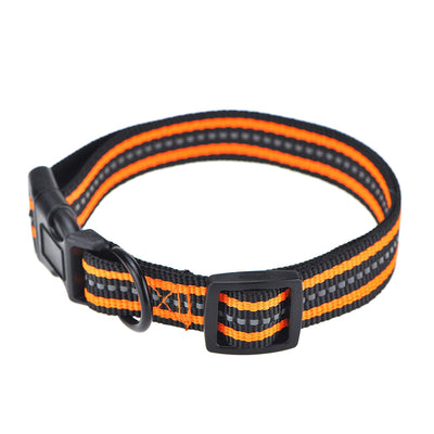 Mile High Life Night Reflective Double Bands Nylon Dog Collar (4 Sizes 7 Colors and Multi-Pack Available)