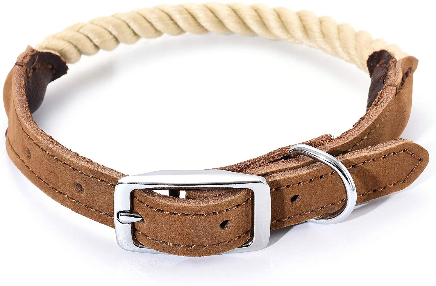 Premium Cotton Rope Leather Dog Collar w/ Stainless Steel Pin Buckle Ring