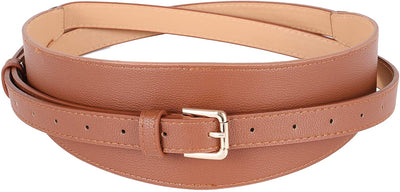 Women's Wide Cummerbund Faux Leather Dress Belt | Double Layered Waist Belt