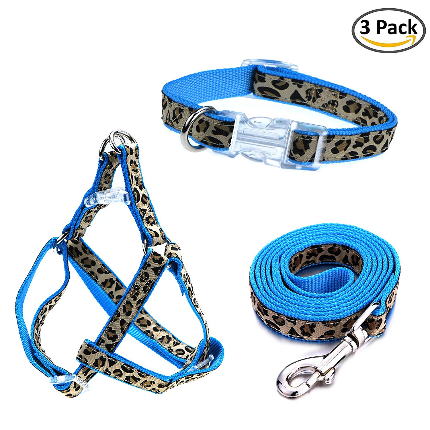 Whole Sale ( Dozen ) Leopard Small Pet Dog Collar or Collar Leash Harness Combo Set