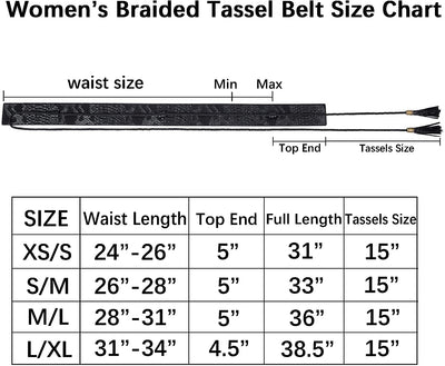 Women's Wide Cummerbund Faux Leather Waist Belt | Women's Braided Tassel Belt | Women's Wide Tassel Junior Waist Belt
