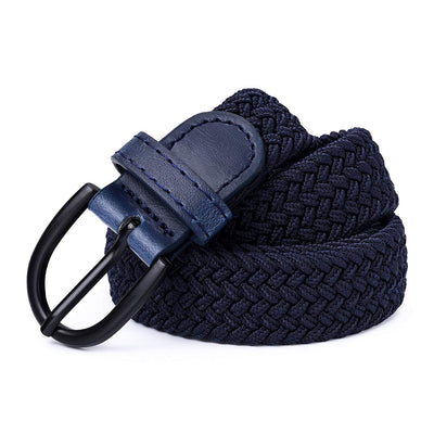 "Young Boys Girls | Braided Stretch Elastic Belt | Pin Prong Buckle | Loop End Tip | 1"" width 
