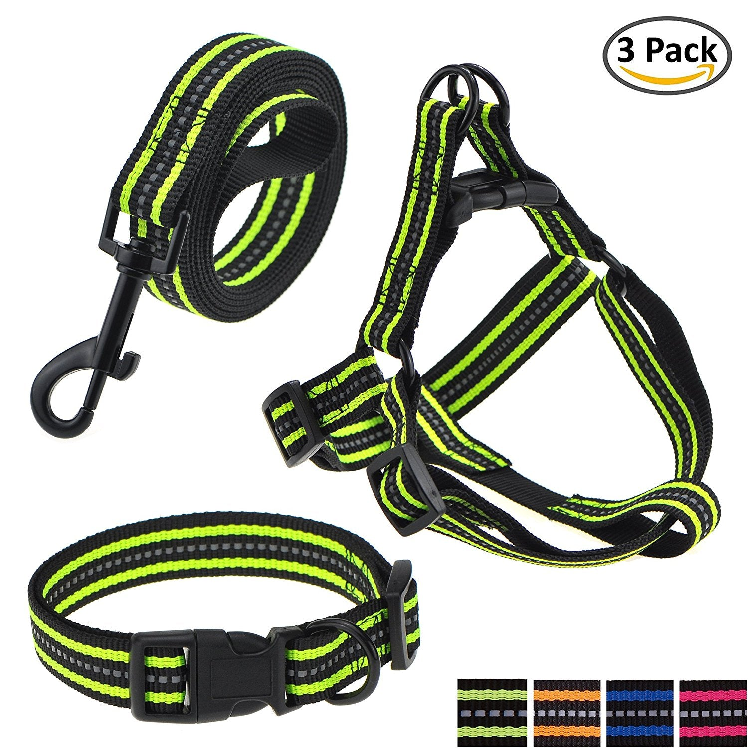 Reflective Double Band Dog Collar, Leash, Harness or Combo Set