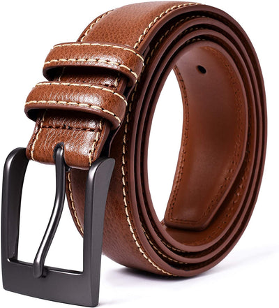 Premium Classic Leather Dress Belt | Double Stitched Loops Thick 1 3/8"