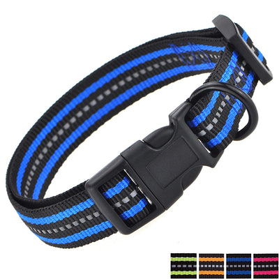 Night Reflective Double Band Nylon Dog Collar