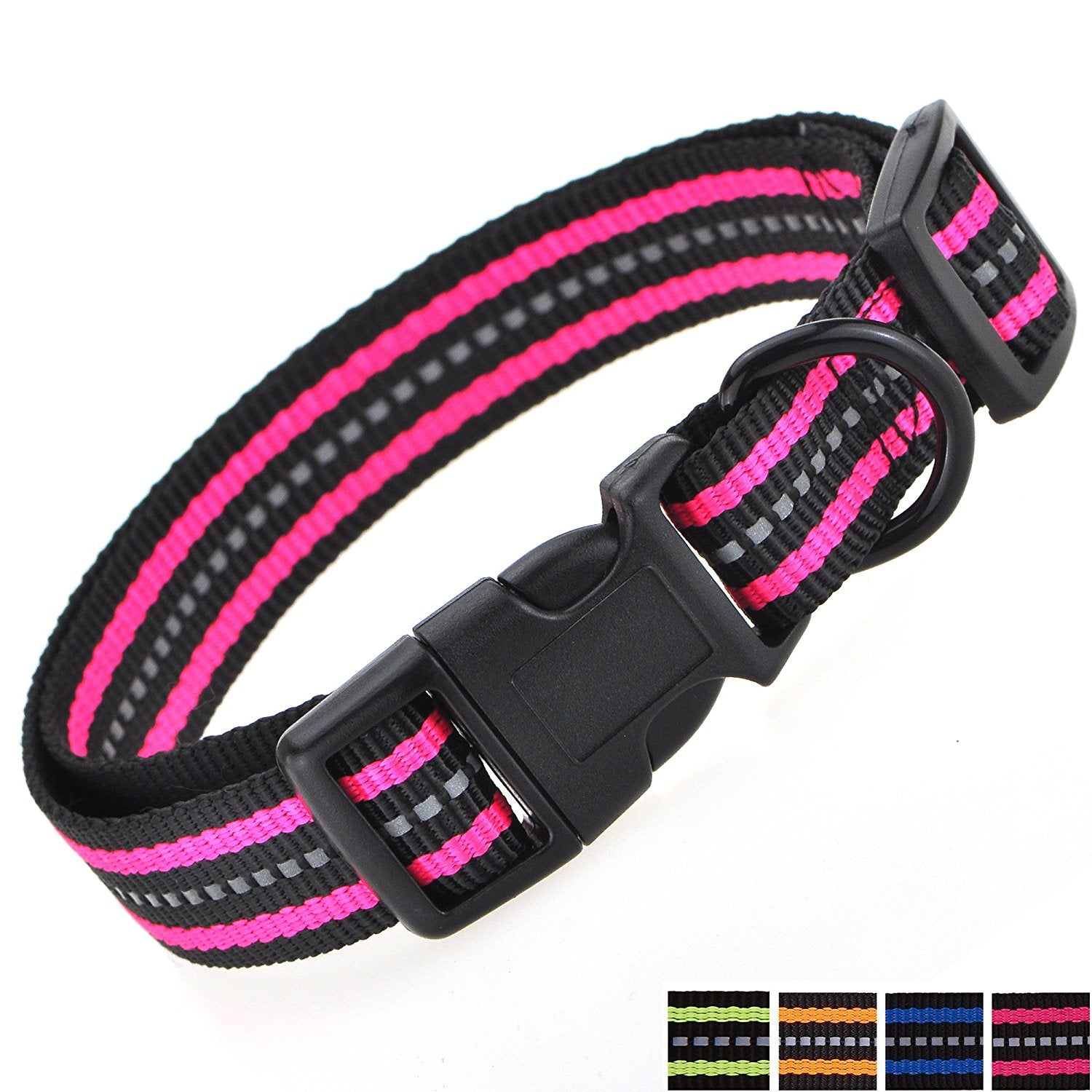Whole Sale ( 2 dozen ) Night Reflective Double Band Nylon Dog Collar