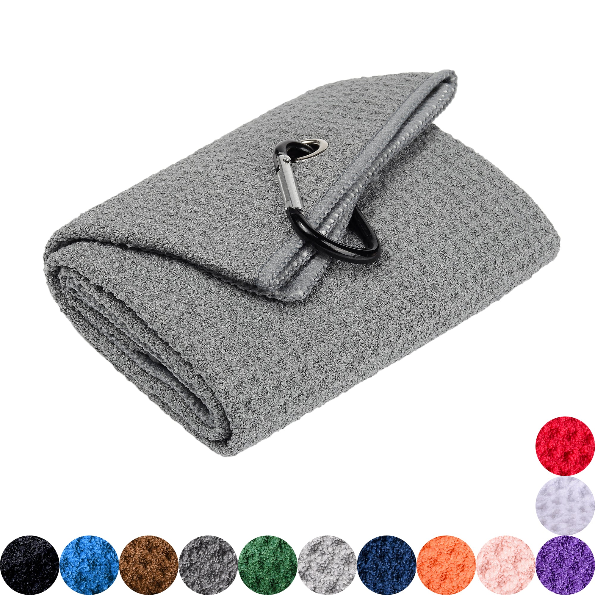Whole Sale ( Dozen )  Microfiber Waffle Pattern Golf Towel, Customizable with one Logo Embroidery