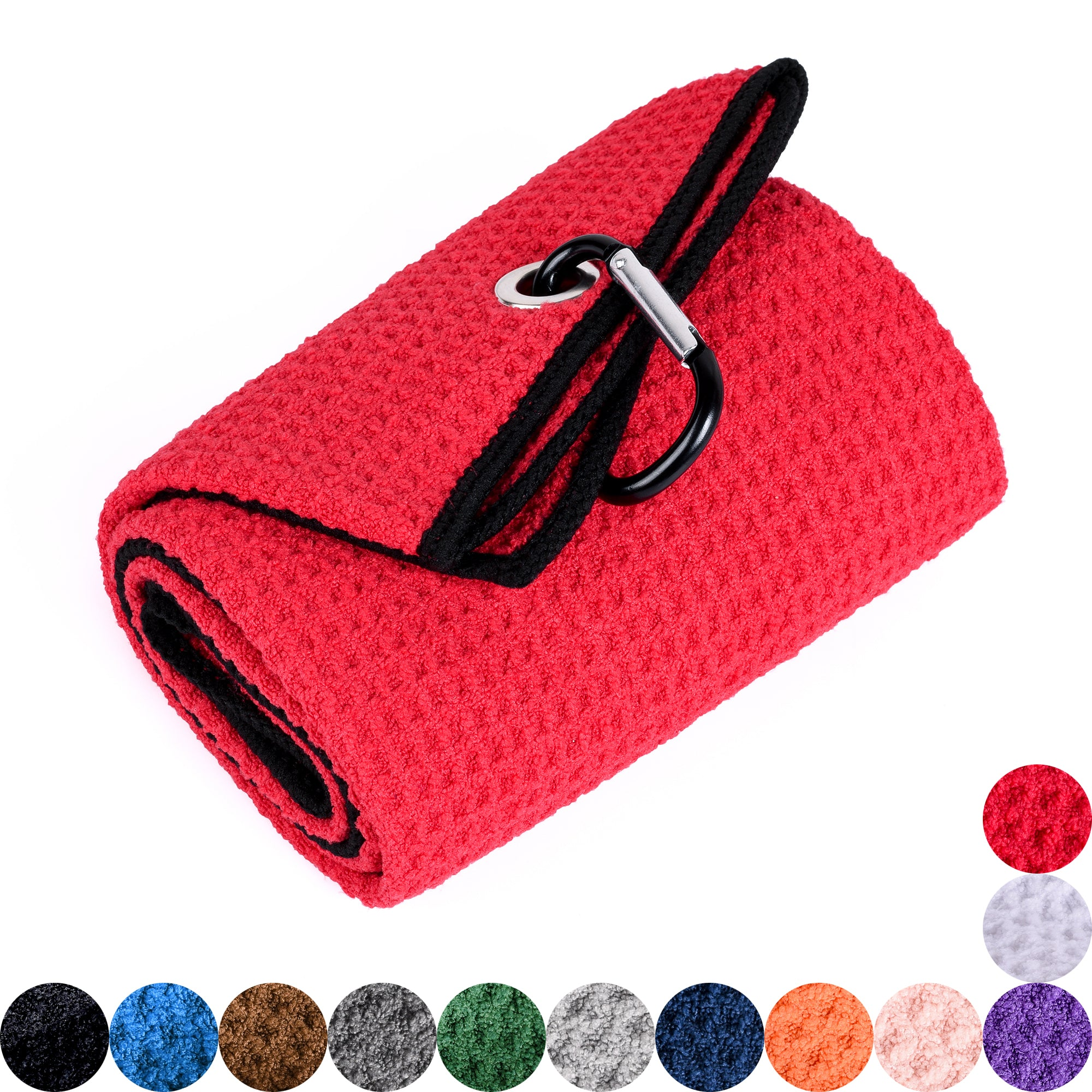 Whole Sale ( 100 pc )  Microfiber Waffle Pattern Golf Towel, Customizable with one Logo Embroidery