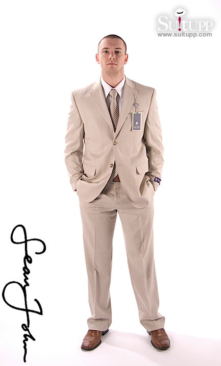 Sean John Beige with Brown Pinstripe 2 Piece Suit